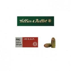 Náboj kulový Sellier a Bellot, Pistol-Revolver, .45 GAP, 230GR/ 14,9g, FMJ