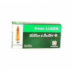 Náboj kulový Sellier a Bellot, Revolevr-Pistol, 9mm Luger, 124GR, SP, Non Tox