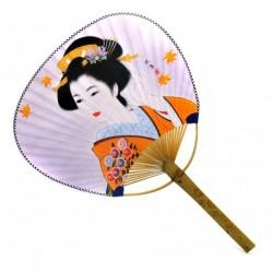 vějíř japonský Uchiwa, pevný, motiv Gejša