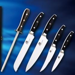 sada 4 nožů + ocílka Dellinger Easy v dřevěné dárkové krabici