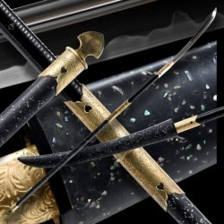 SHERU Japanese Naginata Sword - T-10 Steel, Real Choji Hamon