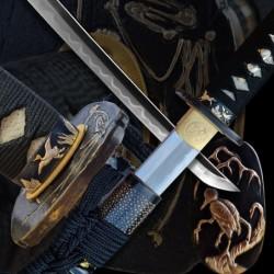 katana TORI z překládané oceli AISI 1075 s reálným hamonem