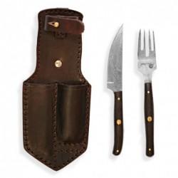 BAZAR nůž+vidlička v pouzdru Dellinger RETTER BBQ Damascus