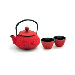 litinová konvička Arare red na čaj 600 ml + 2 šálky